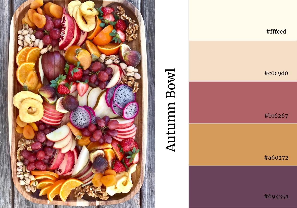 website colour scheme inspiration pink fruit autumn