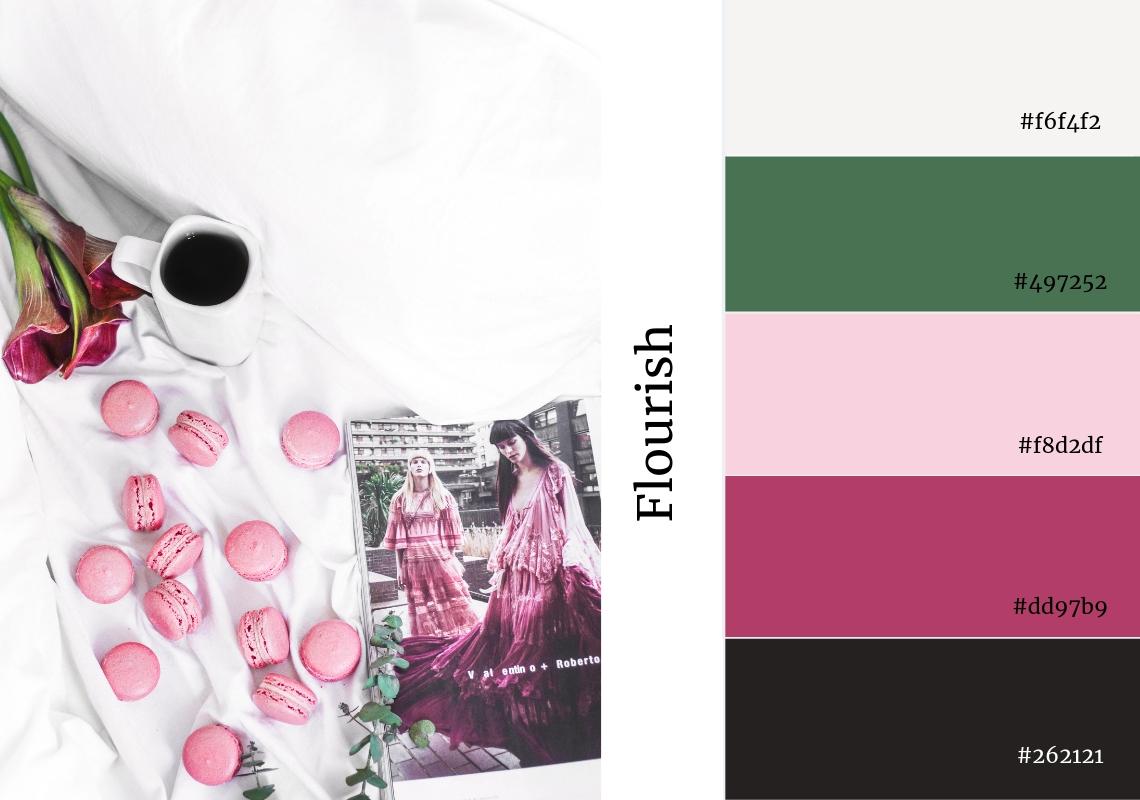 website colour scheme inspiration flower botanical coffee