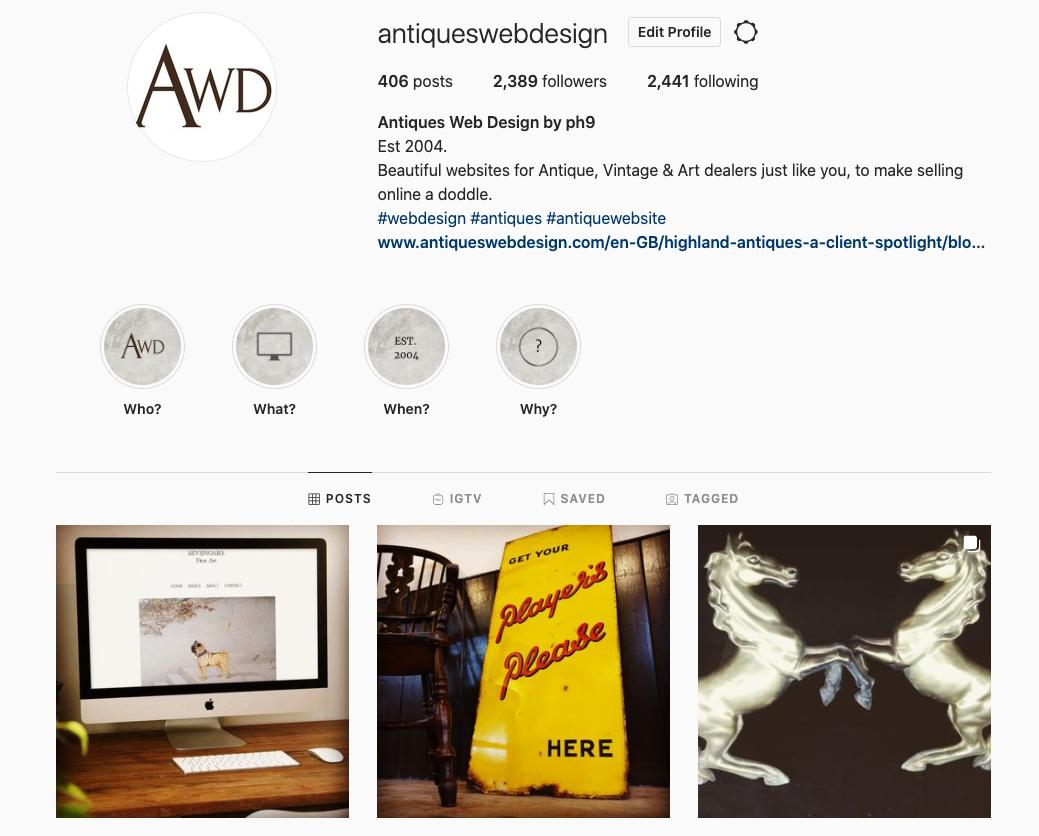 antiques web design instagram