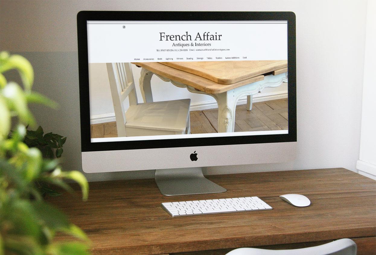 French Affair Antiques Antiques Web Design
