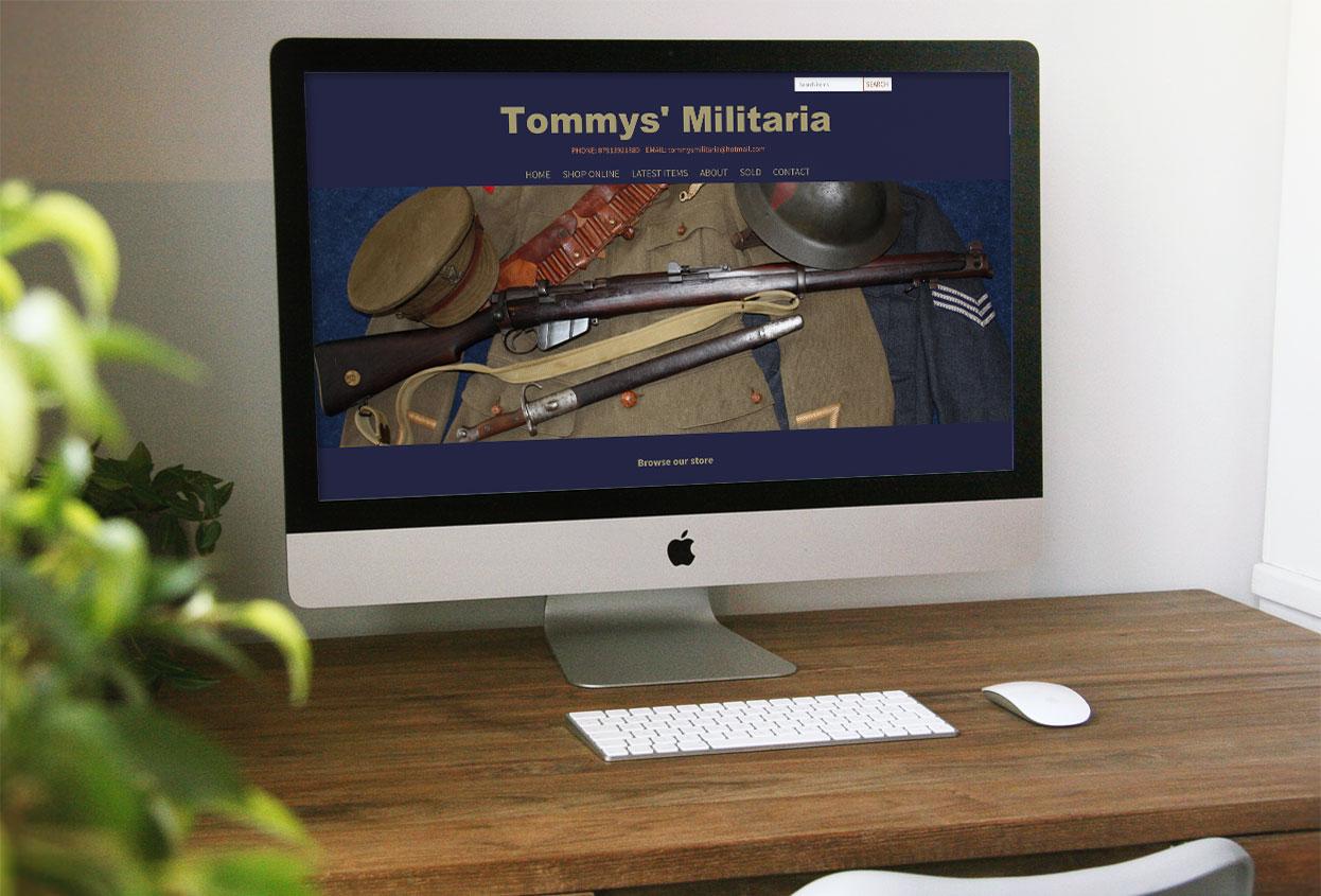 tommys militaria antiques web design