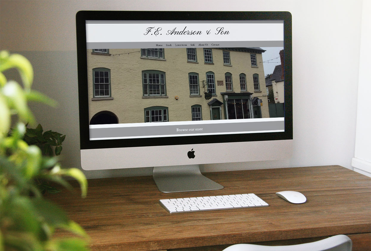 FE Anderson Antiques web design