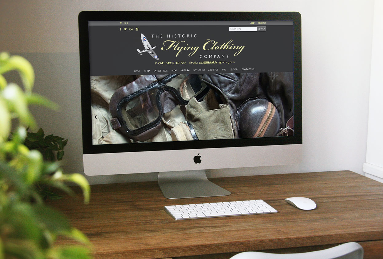 historic flying clothing website preview
