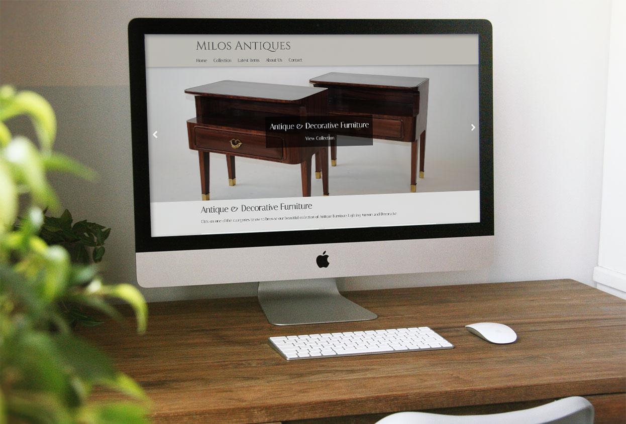 milos antiques website preview
